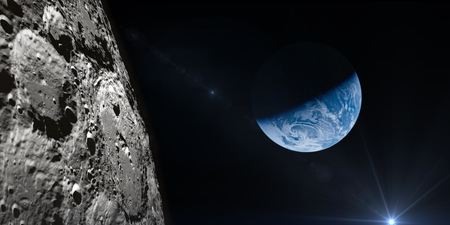 月からの地球の眺め。NASA から提供されたこのイメージの要素です。