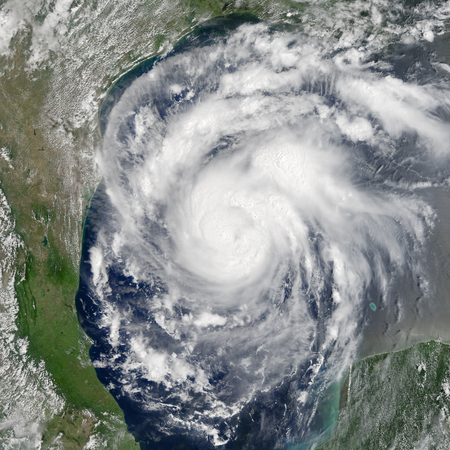 Earth view from space with storm.