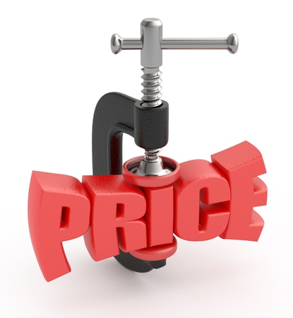squeezing: Price word in clamp. Price reduction concept.