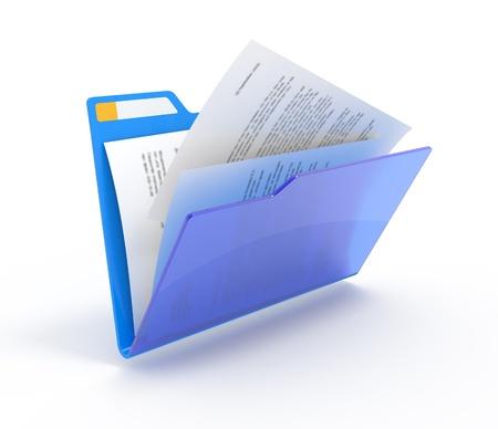 흰색에 izolated 문서와 함께 파란색 폴더.