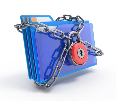 개인 정보 보호: Data security. 3d illustration of folders closed by a chain and lock, isolated on white.