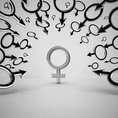 Gender symbols. Concept 3d illustration. Stock Illustration - 9401029