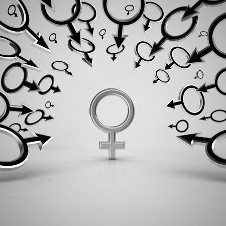 Gender symbols. Concept 3d illustration. Stock Illustration - 9401029