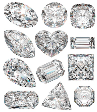 zircon: Diamond shapes isolated on white. 3d illustration.