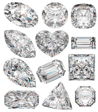 diamante: Formas de diamante aisladas en blanco. Ilustraci�n 3D.