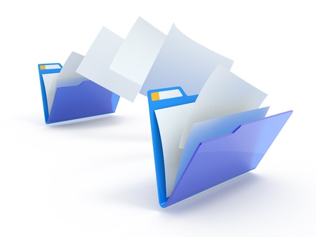Moving files between folders. 3d illustration. Stock Illustration - 9599089