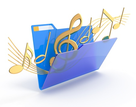 Golden music symbols in a blue folder. Stock Photo
