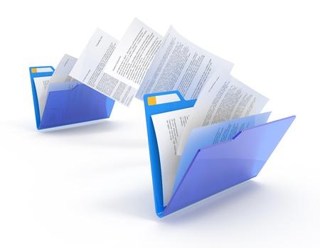 carpetas: Mover documentos entre carpetas. Ilustraci�n 3D. Foto de archivo