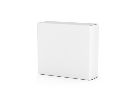 blank box: blank white horizontal box on white background for designs3d illustration Stock Photo
