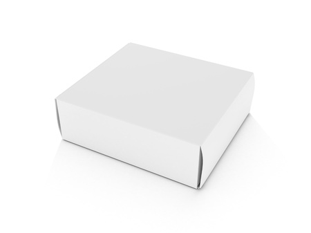 blank white horizontal box lying on white background for designs3d illustration Stock Illustration - 9599101