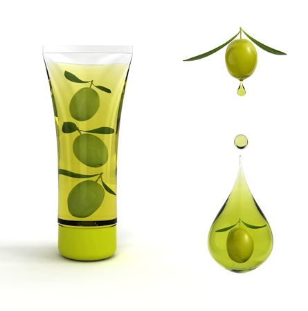 Olives in cosmetic tubes as a symbol of the natural foundation of cosmetic.3d illustration illustration