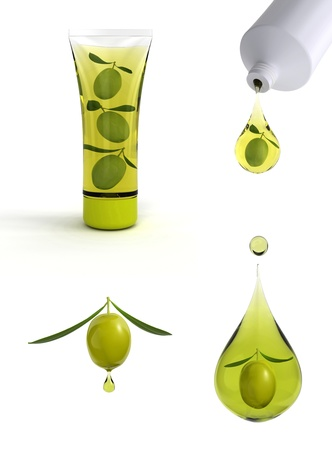 cosmetic cream: 3d illustration of drop of olive oil and olive cosmetics  Stock Photo