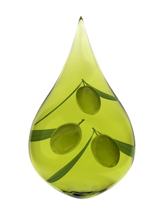 Drop of olive oil with three olives Stock Photo - 9599104