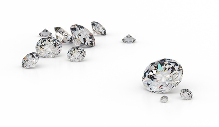 several: Several diamonds of various sizes on a white background