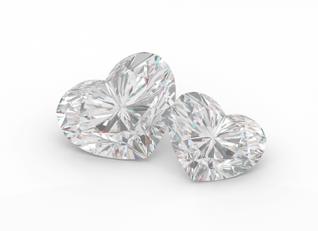 Two diamond hearts on a white background. photo