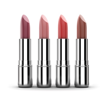 Beautiful color lipstick samples isolated on white. Stock Photo - 9696338