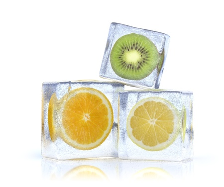 3d illustration of citrus slice in the ice cubes Stok Fotoğraf