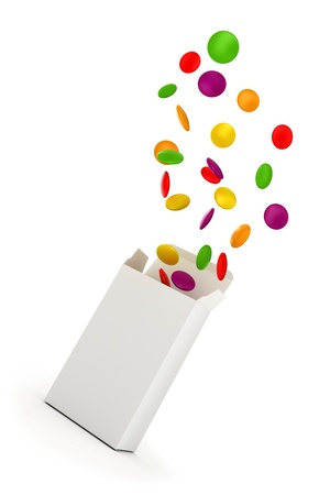 Color vitamin pills jumping out from a blank box. 3d illustration. Stock Illustration - 9696335