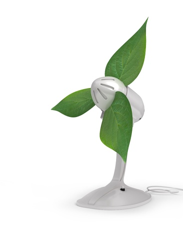 electric fan: 3d illustration of fan with a green leaves Stock Photo