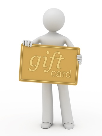 gift giving: 3d person showing a gold gift card. Stock Photo