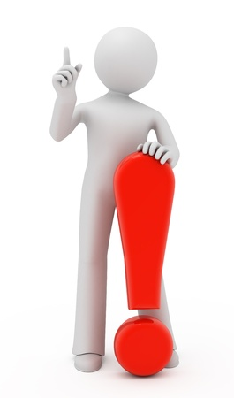 3d person with red exclamation mark isolated on white. Stock Photo - 9696353