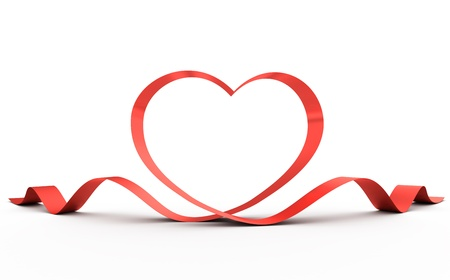 heart shaped: Heart from a red ribbon. 3d illustration. Stock Photo
