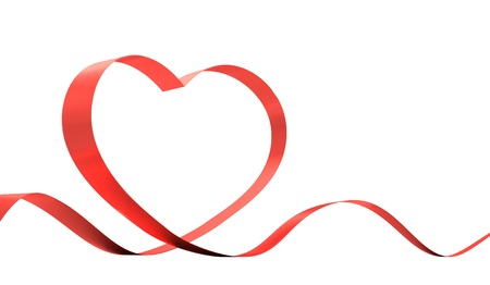 Red ribbon in a heart shape isolated on white. 3D idllustration. Stock Photo