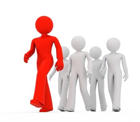 follow the leader: Groep 3D jongens follow the leader. Stockfoto
