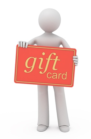 gift giving: 3D boy gives you a gift card. Stock Photo