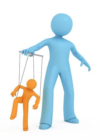 discriminacion: 3D de una persona manipula a otra persona 3d. Foto de archivo