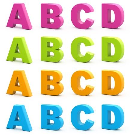 lettre de l alphabet: Alphabet color�. Ensemble de lettres 3d isol� sur fond blanc. Partie 1 de 6. Banque d'images