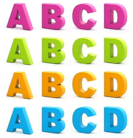 Colorful alphabet. Set of 3d letters isolated on white. Part 1 of 6.