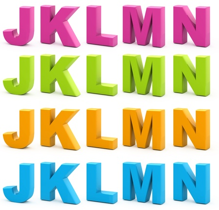 letter k: Colorful alphabet. Set of 3d letters isolated on white. Part 3 of 6.