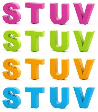 Colorful alphabet. Set of 3d letters isolated on white. Part 5 of 6. Stock Photo
