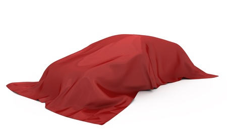 Car covered red fabric. Isolated on white. 3D rendered.