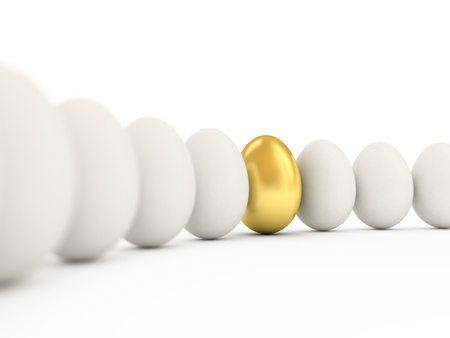 gold eggs: Golden egg in a row of the white eggs. 3d illustration with realistic factures and DOFF. Stock Photo