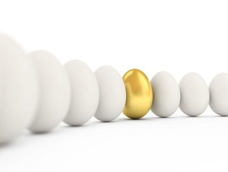 Gouden ei op een rij van de witte eieren. 3D-afbeelding met realistische factures en DOFF.