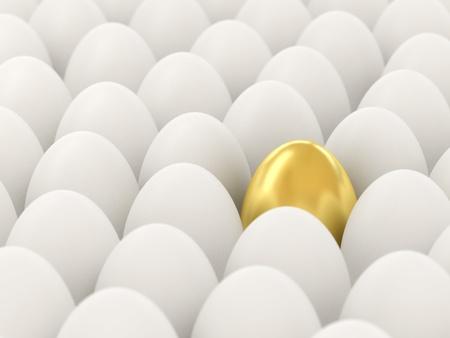 Golden egg among the white. 3d illustraton. Focus on the golden egg.