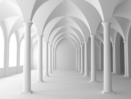 light columns: Architecture in classical style. 3D illustration. Stock Photo