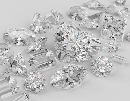 diamante: Diferentes cortes de diamantes sobre fondo gris. Se centran en forma de coraz�n de gran diamante. Ilustraci�n 3D. Foto de archivo