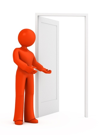 come on: 3d person invites you to enter into an open door.
