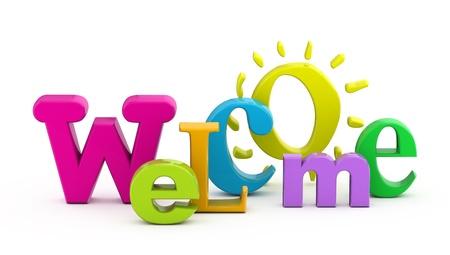 welcome sign: Mot de bienvenue unique de lettres en trois dimensions.