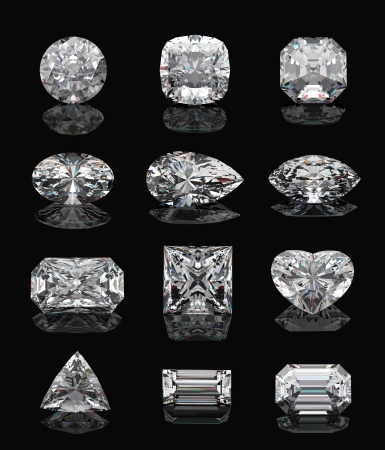 zircon: Diamond shapes on � black mirror. 3d illustration. Stock Photo
