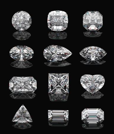 Diamond shapes on � black mirror. 3d illustration.