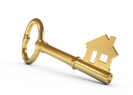 Gold house key isolated on white. 3d illustration.
