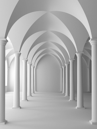 church interior: Architecture in classical style. 3D illustration. Stock Photo