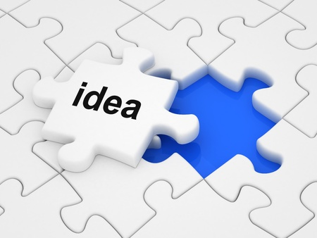 final thoughts: Idea word on a piece of puzzle. Stock Photo