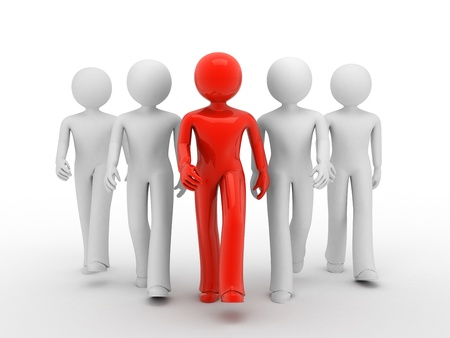 Lider of team 3d persons. Isolated on white 3d illustration. Standard-Bild