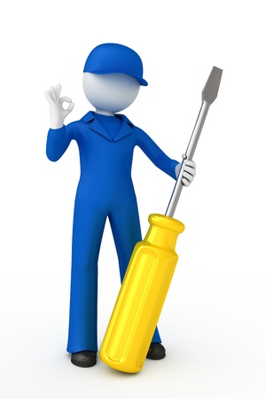 Adjuster with screwdriver showing ok gesture.