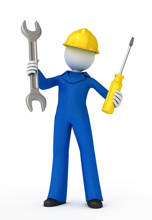Manual worker with a spanner and screwdriver. 3D illustration.
